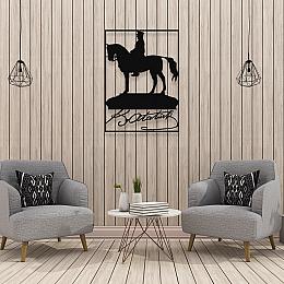 NEW JARGON At Üstünde Mustafa Kemal Atatürk Ve K.Atatürk İmzası Metal Dekoratif İç Mekan İçin Metal Tablo 50x36 cm