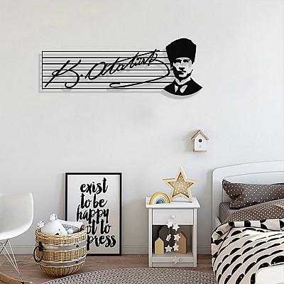 Atatürk İmzası ve Portresi Duvar Oda Ev Aksesuarı Metal Tablo