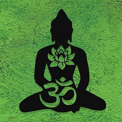 NEW JARGON Aum İşareti ve Yoga Miti Duvar Oda Aksesuarı Metal Dekoratif İç Mekan İçin Metal Tablo 50x50 cm