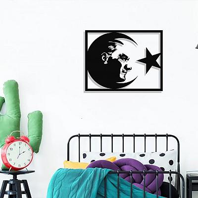 Ay Yıldız Atatürk Portresi Duvar Oda Ev Aksesuarı Metal Tablo