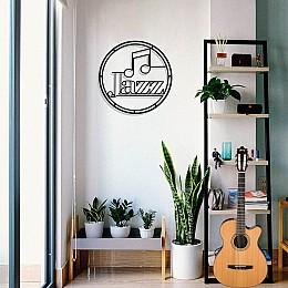 Çerçeve İçinde Jazz Müzik ve Nota Tasarım Metal Tablosu 50x50cm