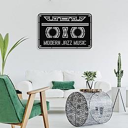 Çerçeve İçinde Modern Jazz Music ve Kaset Tasarım Metal Tablosu 70x45cm