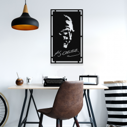 NEW JARGON Çerçeve İçinde Mustafa Kemal Atatürk Potresi Metal Dekoratif İç Mekan İçin Metal Tablo 50x30 cm