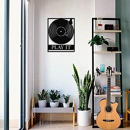 Çerçeve İçinde Plak ve Dj Set Play It Tasarım Metal Tablosu 50x40cm
