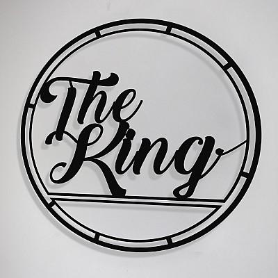 Çerçeve İçinde The King Yazısı Tasarım Metal Tablosu 50x50cm