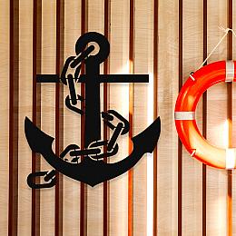NEW JARGON Deniz Çapası Deniz Tekne Yat Dekoratif İç ve Dış Mekan İçin Metal Tablo 50x50 cm