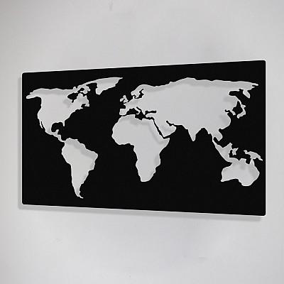 Dikdörtgen Dünya Haritası Duvar Oda Ev Aksesuarı Metal Tablo