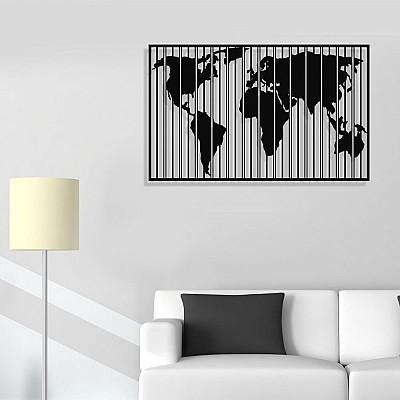 Dünya Haritası Dikey Çizgili Duvar Oda Ev Aksesuarı Metal Tablo