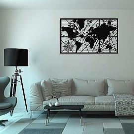 Dünya Haritası Duvar Dekoru Oda Ev Aksesuarı Metal Tablo