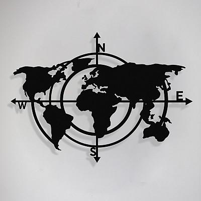 Dünya Haritası Pusula Compass Metal Tablo