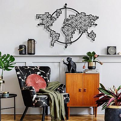 Dünya Haritası Pusula Dikdörtgen Yaşam Çiçeği Metal Tablo
