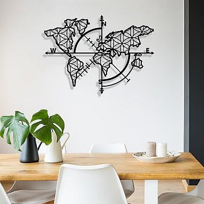 Dünya Haritası Pusula Yaşam Çiçeği Duvar Oda Ev Aksesuarı Metal Tablo