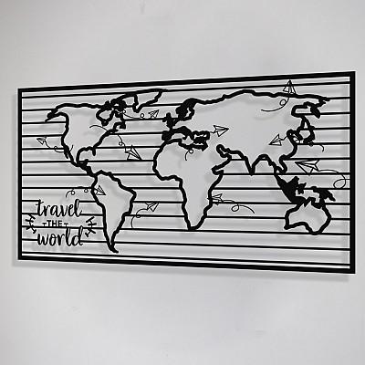 Dünya Haritası Travel The World Duvar Oda Ev Aksesuarı Metal Tablo
