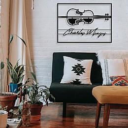 Jazz Müzik Kontrbas ve Charles Mingus Çerçeveli Tasarım Metal Tablosu 65x47cm