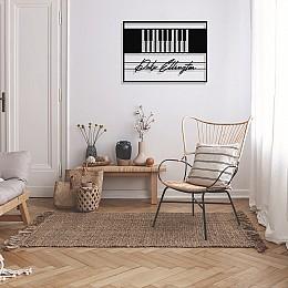 Jazz Müzik Piyano ve Duke Ellington Çerçeveli Tasarım Metal Tablosu 65x47cm