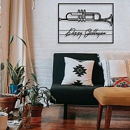 Jazz Müzik Saksafon ve Dizzy Gillespie Çerçeveli Tasarım Metal Tablosu 65x47cm