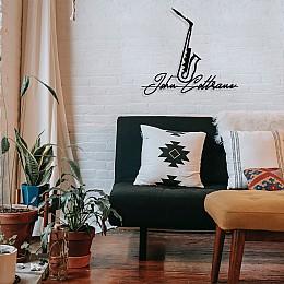 Jazz Müzik Saksafon ve John Coltrane Tasarım Metal Tablosu 65x58cm