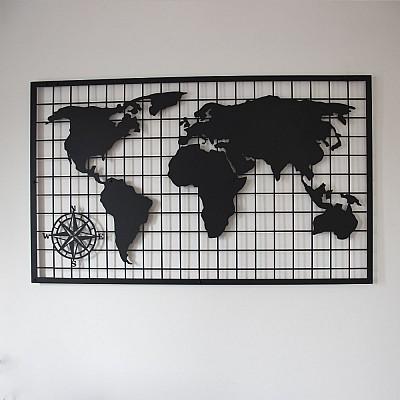 Kareli Dünya Haritası Duvar Dekoru Oda Ev Aksesuarı Metal Tablo