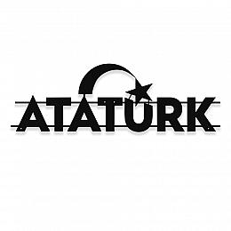 NEW JARGON Kemal Atatürk ve Ayyıldız Yazısı Metal Dekoratif İç Mekan İçin Metal Tablo 50x16 cm
