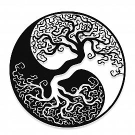 NEW JARGON Siyah ve Beyaz Yin Yang ve Ağaç Figürü Simgesi Metal Dekoratif İç Mekan İçin Metal Tablo 50x50 cm