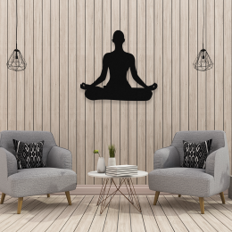 NEW JARGON  Yoga Yapan Kadın Figürü Duvar Oda Ev Aksesuarı Metal Dekoratif İç Mekan İçin Metal Tablo 50x50 cm