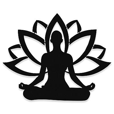 NEW JARGON Yoga Yapan Kadın ve Lotus Çiçeği Metal Dekoratif İç Mekan İçin Metal Tablo 50x40 cm