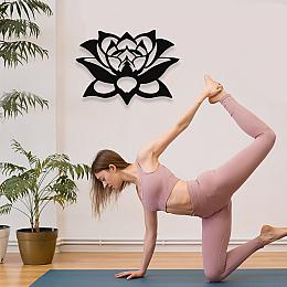NEW JARGON Yoga Zen Süsleme Motifi Lotus Çiceği Duvar Oda Aksesuarı Metal Dekoratif İç Mekan İçin Metal Tablo 50x50 cm