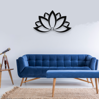 NEW JARGON Zarif Minimal Zen Lotus Çiçeği Metal Dekoratif Mekan İçin Metal Tablo 50x30 cm