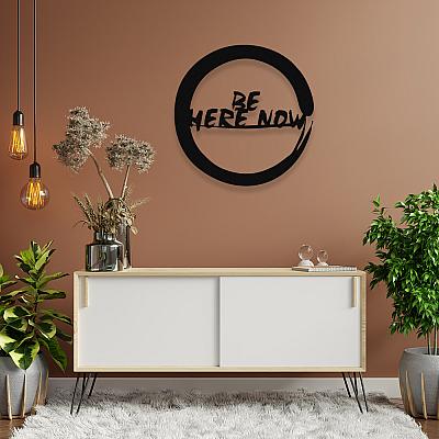 NEW JARGON Zen İşareti Be Here Now Yoga Figürü Metal Dekoratif İç Mekan İçin Metal Tablo 50x50 cm