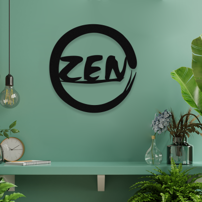 NEW JARGON Zen Yazısı ve İşareti Yoga Figürü Simgesi Metal Dekoratif İç Mekan İçin Metal Tablo  50x50 cm
