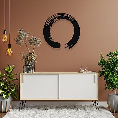 NEW JARGON Zen Yoga Enso Çemberi Metal Dekoratif İç Mekan İçin Metal Tablo 50x50 cm